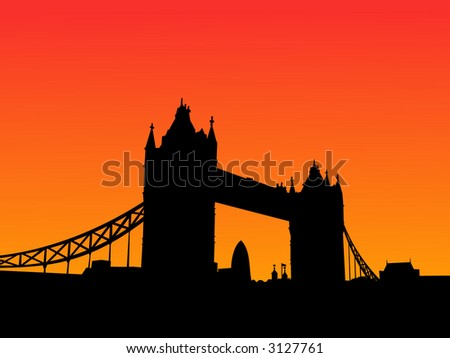 Tower Bridge London at sunset with colorful sky