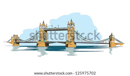 Tower Bridge of London - colorful vector illustration