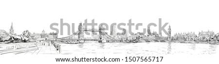 Tower Bridge. Trafalgar Square.  Big Ben. London. England. City panorama. Collage of landmarks. Vector illustration. Urban sketch.