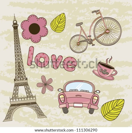 tower eiffel, coffee with car background. vector illustration - stock