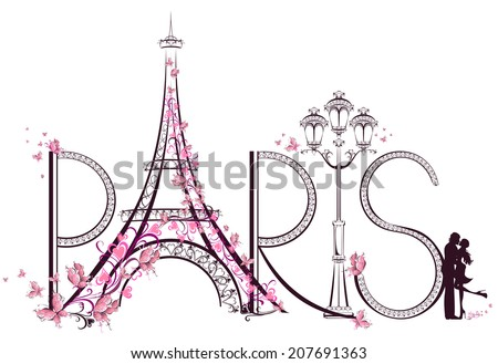 Tower Eiffel with Paris lettering Vector illustration
