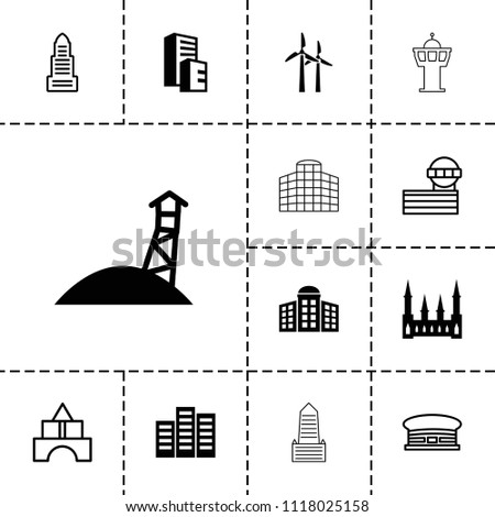 Tower icon. collection of 13 tower filled and outline icons such as building   isolated  sign symbol, building, castle. editable tower icons for web and mobile.