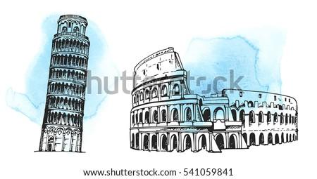 tower of pisa  coliseum  world...