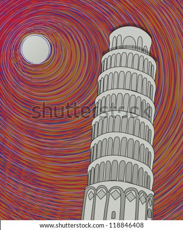 Tower of pisa in the moonlight, hand drawn graphic sketch