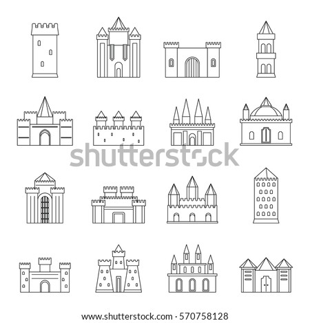 towers and castles icons set