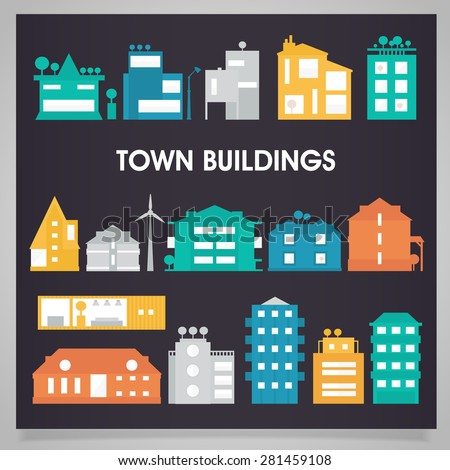 town and city buildings and