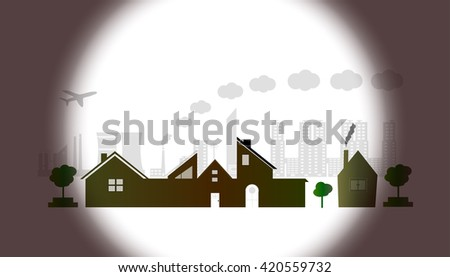 Town and village at sunset. vector illustration