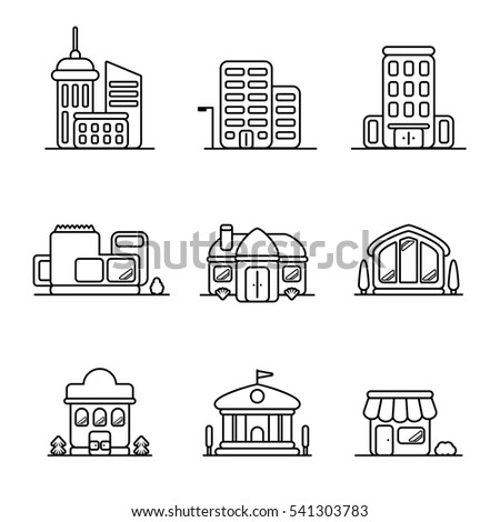 town buildings and houses icons