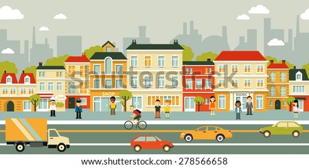 Town city street panoramic cityscape seamless background in flat style