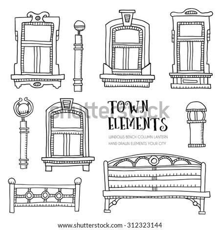 town elements hand drawn....