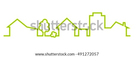 town  green silhouette  vector