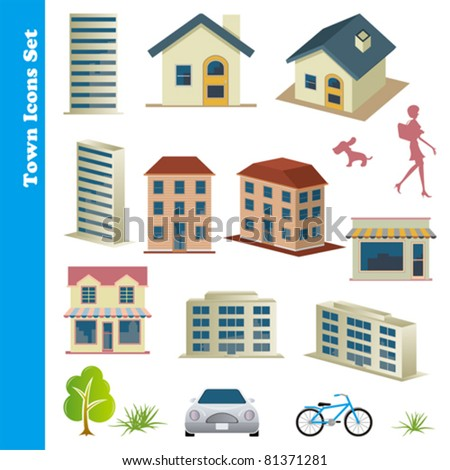 Town icons set. Illustration vector.
