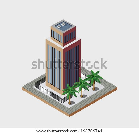 Town in isometric view with the landscape