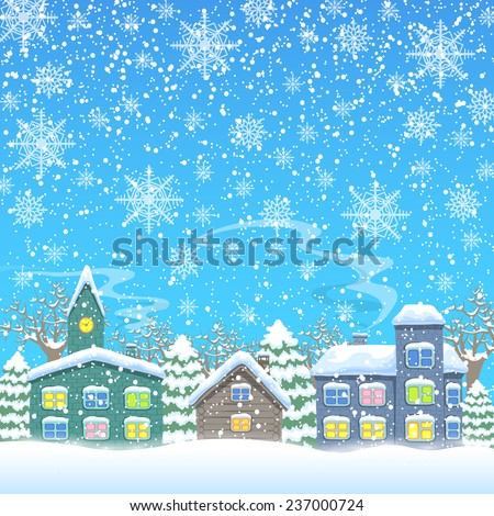Town in winter Template for Christmas card with place for your text Vector