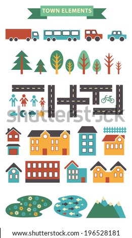 Town Infographic Elements. Vector City Elements For Create Your ...