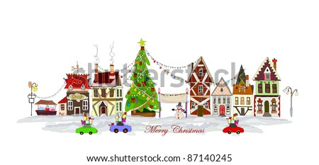 Town's high street in the Christmas - Shutterstock ID 87140245