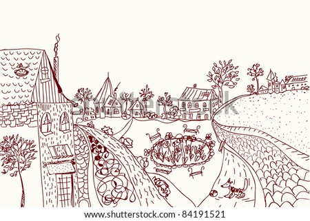 town sketch of old style