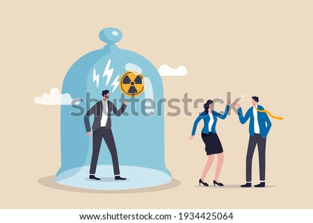 Toxic boss, bad environment in workplace, unfairness, micromanage or mislead manager concept, angry manager captured in cover with prohibit toxic sign and team are peacefully discussing work outside. Сток-фото ©