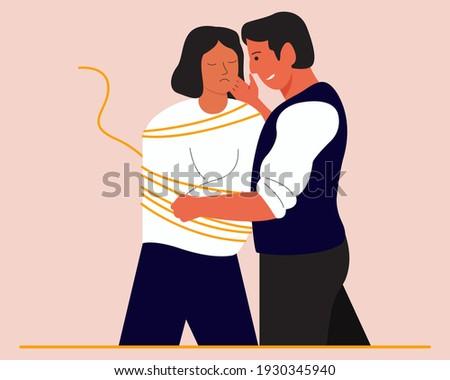 Toxic relationship concept illustration. Violence against women. Сток-фото ©