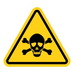 Toxic warning yellow sign vector icon isolated on white background.