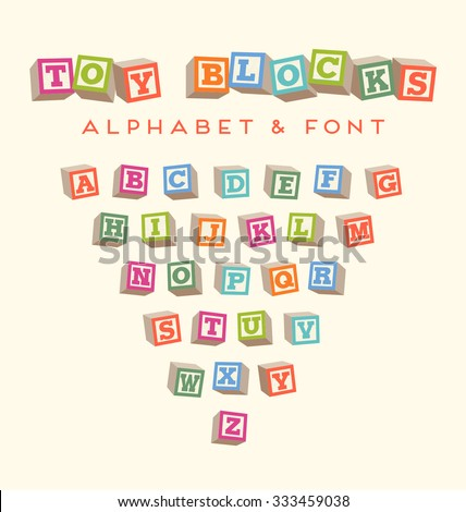 Toy blocks font typeface for lettering designs