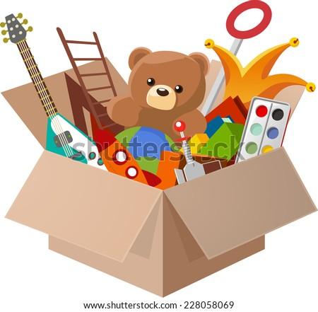Shutterstock Toy Box, with Teddy Bear, Guitar, Ball, Watercolor, clown, robot. Vector illustration cartoon.