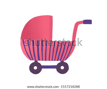Toy buggy flat vector illustration. Girlish plaything, doll pram. Pink baby stroller, childish vehicle. Kid accessory, puppy cradle. Cute baby carriage isolated on white background. Stock photo ©