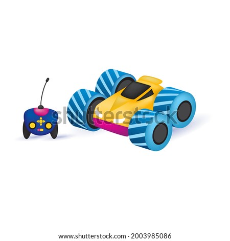 Toy car with remote control on withe background. Stock photo ©