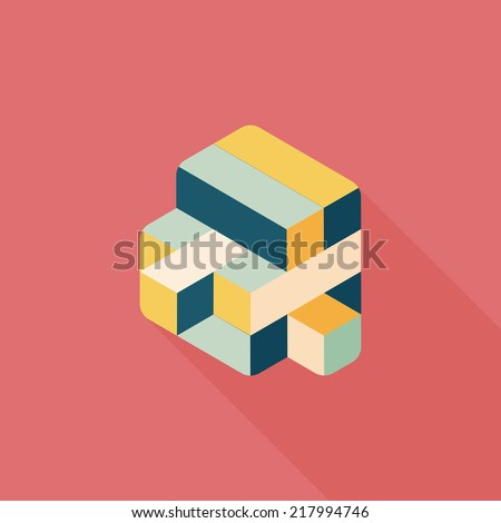 toy cube flat icon with long