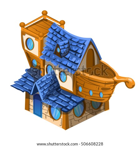 Toy house brown and blue color in the style of the ship isolated on white background. Vector illustration.