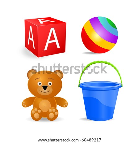 toy icon set - block, ball, bucket, bear isolated on white background - stock vector