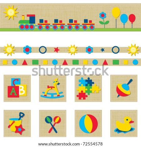 Toy icons and banner set