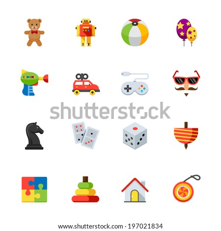 toy icons   flat icon set for