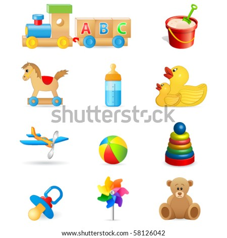 toy icons - vector illustration