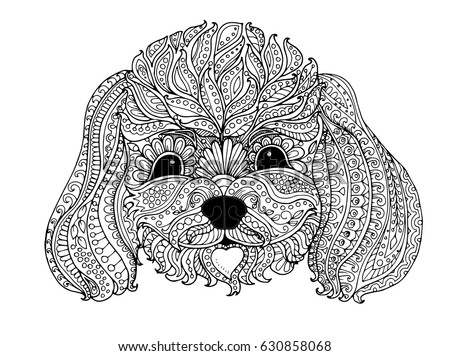 toy poodle  zentangle design