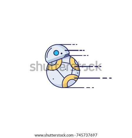 toy robot icon in thin outline