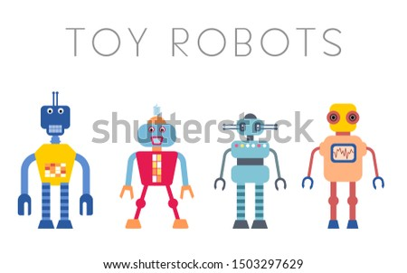Toy robot set - retro robots collection vector.
