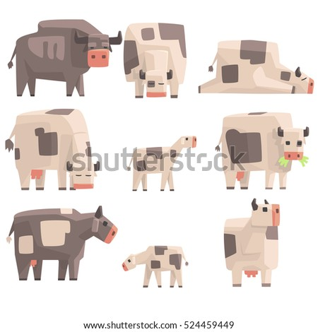 toy simple geometric farm cows
