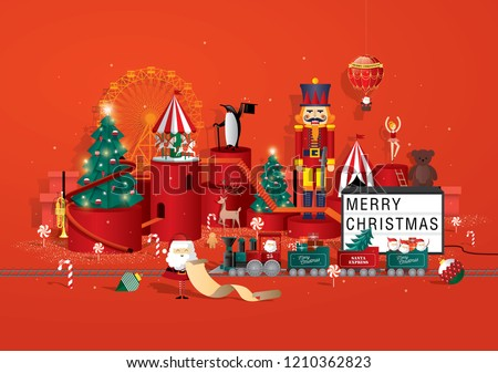 toy store christmas greetings template vector/illustration