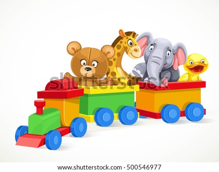 toy train with soft toys