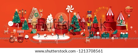 toyland town christmas greetings template vector/illustration