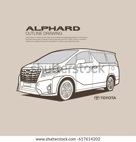 Toyota Alphard side view vector outline