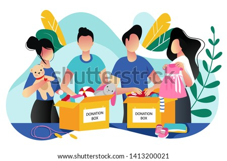 Toys and kids clothes donation. Vector trendy flat cartoon illustration. Social care, volunteering and charity concept. Volunteer people collect donations into boxes.