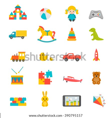 Toys collection isolated on white background. Including drum, horse, teddy bear, ball, doll, dinosaur, cubes toy . Preschool activity children playthings set