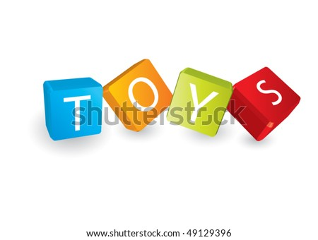 Toys (cube letters in editable vector format)