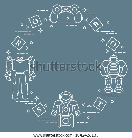 Toys for children: robots, remote control, cubes. Design for banner, poster or print.