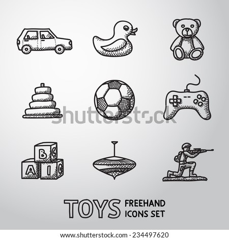 toys hand drawn icons set with