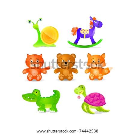 toys icon set  isolated on white background. animals fox bear horse turtle crocodile snail cat #74442538