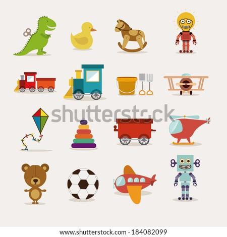 toys icons on white background