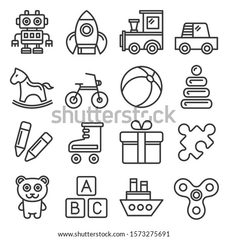 Toys Icons Set on White Background. Line Style Vector Сток-фото ©